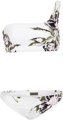 Proenza Schouler One-Shoulder Floral-Print Bikini Set