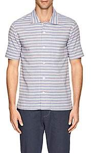 N. Max 'n Chester MAX 'N CHESTER MEN'S MICHAEL STRIPED COTTON-LINEN SHIRT-BLUE SIZE XL