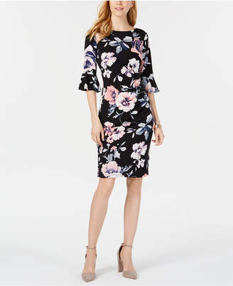 Connected Petite Printed Bell-Sleeve Dress