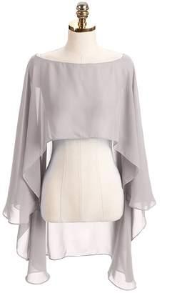 DINGZAN Chiffon Wedding Capes Evening Dress Bridesmaid Stole Formal Scarves  Bridal Wraps Long Shawls e56442c1b6e3