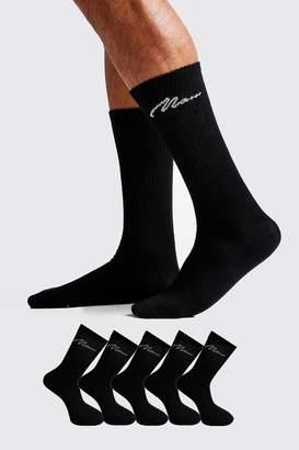boohoo MAN Signature 5 Pack Sport Socks