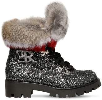 Ermanno Scervino Glittered Boots W/ Fur Trim