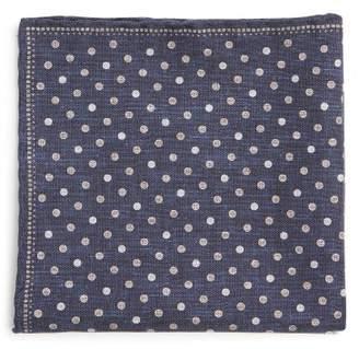 Brunello Cucinelli Polka Dot Print Silk Blend Pocket Square - Mens - Navy Multi