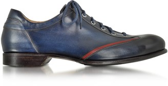 Forzieri Men's Blue Handmade Italian Leather Lace-up Shoes
