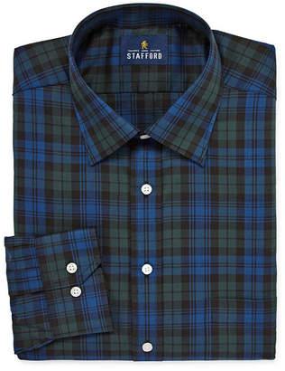 STAFFORD Stafford Tartan Trend Easy-Care Stretch Big And Tall Long Sleeve Woven Pattern Dress Shirt