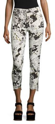 7 For All Mankind Floral-Print Step Hem Ankle Skinny Jeans $199 thestylecure.com