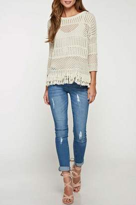 Lovestitch Crochet Fringed Sweater $62 thestylecure.com