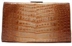 Nancy Gonzalez Colette Crocodile Slim Exposed-Frame Clutch Bag