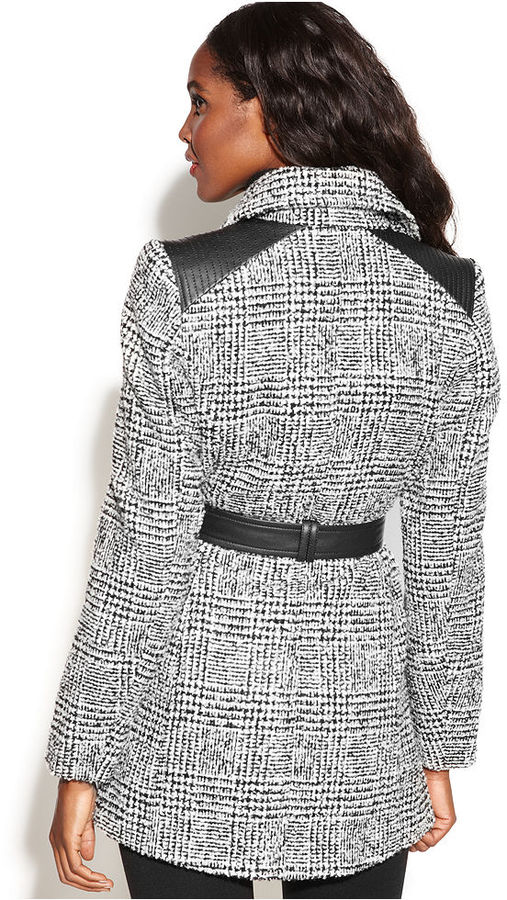 INC International Concepts Asymmetrical Belted Faux-Leather-Trim Coat