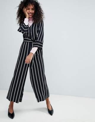 Monki Striped Wrap Front Jumpsuit