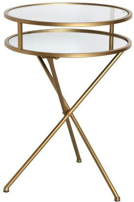 One World Gold Glass Folding Side Table
