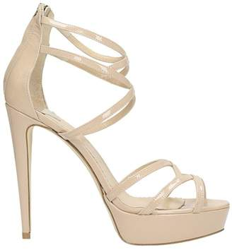 The Seller Plateau Nude Patent Leather Sandals