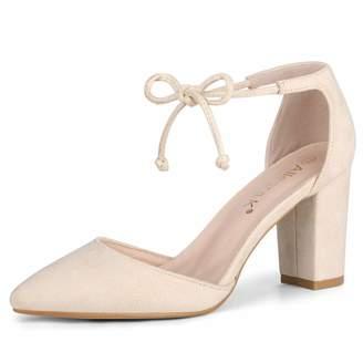 f152efc6c385 Allegra K Women s Ankle Tie Chunky Heel Pointed Toe Dress Pumps