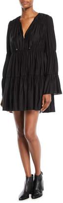 Elizabeth and James Cheryl Long-Sleeve Tiered & Gathered Mini Dress