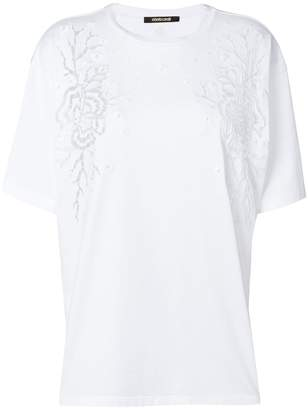 Roberto Cavalli perforated flower T-shirt