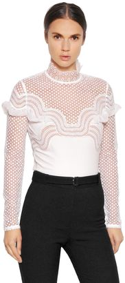 Dot Mesh Lace & Crepe Top $340 thestylecure.com