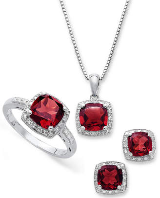 Macy's Sterling Silver Jewelry Set, Garnet (4-3/4 ct. t.w.) and Diamond Accent Necklace, Earrings and Ring Set