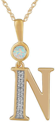 N. FINE JEWELRY Womens Lab Created White Opal 14K Gold Over Silver Pendant Necklace