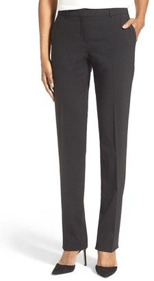Women's Boss 'Tamea' Straight Leg Stretch Wool Trousers $275 thestylecure.com