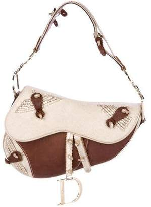 Christian Dior Jacquard-Trimmed Leather Saddle Bag 9d15c4efdf4a5