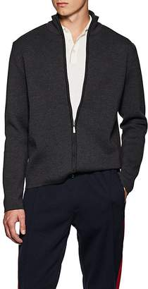 Barneys New York Men's Compact Fine-Gauge Knit Wool Zip-Front Sweater
