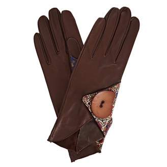 Gizelle Renee - Padma Dark Brown Leather Gloves With BM Liberty Tana Lawn