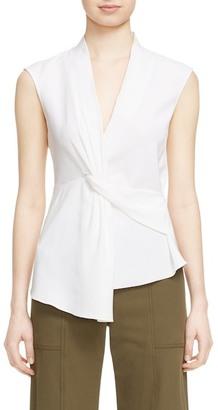 VERONICA BEARD Dixon Asymmetrical Drape Sleeveless Blouse $350 thestylecure.com