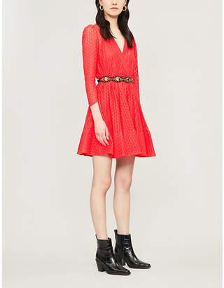 Maje Ralina V-neck guipure-lace skater dress