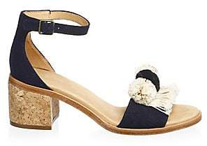 db2aac4da271 Soludos Women s Pom-Poms Block Heel Sandals