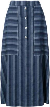 Carolina Herrera Denim stripe button skirt