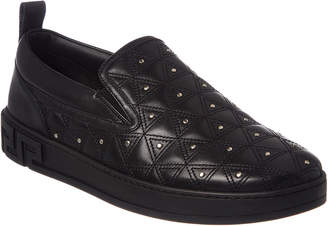Versace Triangle Stitch Slip-On Leather Sneaker
