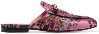 Gucci Princetown Horsebit-detailed Metallic Jacquard Slippers - Pink
