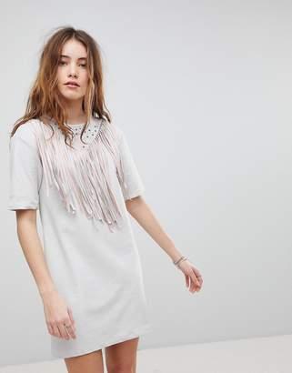 Glamorous T-Shirt Dress With Fringing