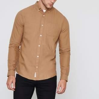 River Island Mens Brown long sleeve Oxford shirt