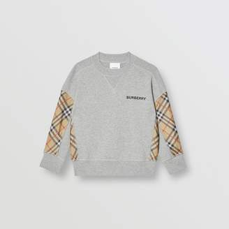 Burberry Vintage Check Panel Cotton Sweatshirt