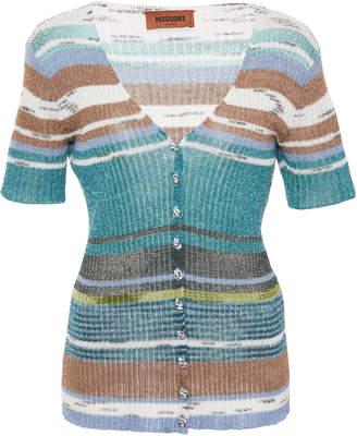 Missoni Striped Rib-Knit Short Sleeve Cardigan