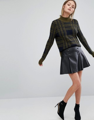 Oasis Leather Look Button Front Pleated Skirt $58 thestylecure.com