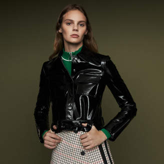 Maje Cropped lambskin leather jacket