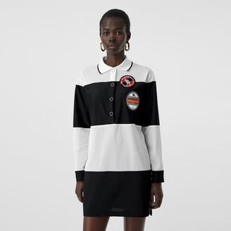 Burberry Logo Graphic Striped Mesh Polo Shirt Dress