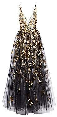 Oscar de la Renta Women's Floral Appliqué Tulle Gown
