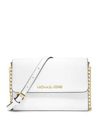 MICHAEL Michael Kors Jet Set Travel Crossbody Phone Case/Wallet, Optic White $168 thestylecure.com