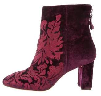 Alexandre Birman Velvet Embroidered Boots Purple Velvet Embroidered Boots