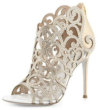 Rene Caovilla Scroll Laser-Cut Crystal 105mm Bootie, White $1,695 thestylecure.com
