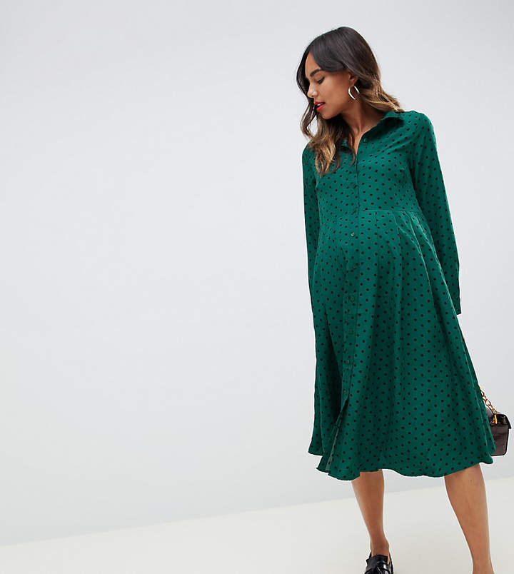 Glamorous Bloom midi shirt dress with pleated skirt in polka dot print