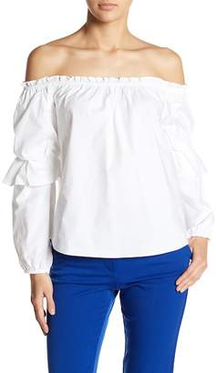 Socialite Off-the-Shoulder Tiered Sleeve Blouse