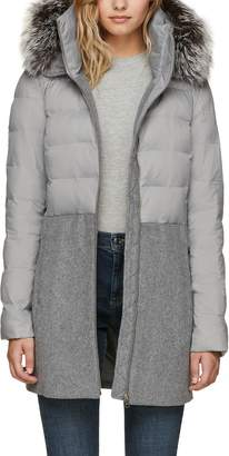 Soia & Kyo Straight Fit Mixed Media Coat with Genuine Silver Fox Fur Trim