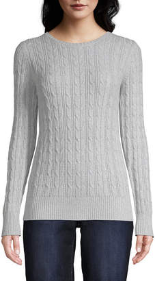 ST. JOHN'S BAY Long Sleeve Cable Crew Sweater - Tall