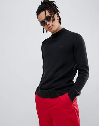 Tommy Jeans mock neck flag logo knit sweater in black