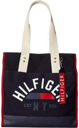 Tommy Hilfiger Carmel North/South Logo Canvas Tote Tote Handbags