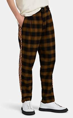 Song For The Mute Men's Side-Striped Checked Flannel Trousers - Mustard